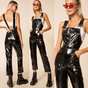 New faux patent leather overalls jumper Small hot!